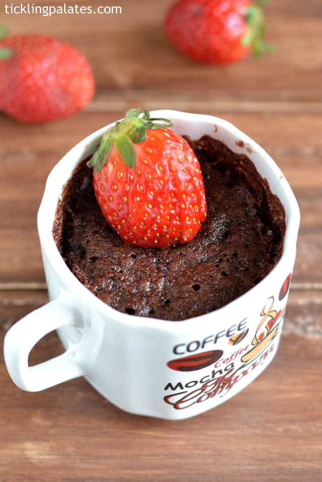 Eggless Chocolate Strawberry Mug Cake Recipe
